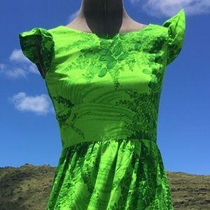 ViNTAGE Hawaiian Maxi dress in green floral